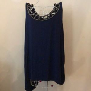 Lane Bryant High-Low Navy Blue (Sleeveless) Shirt